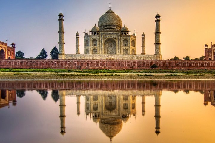 Taj Mahal reflected in the river