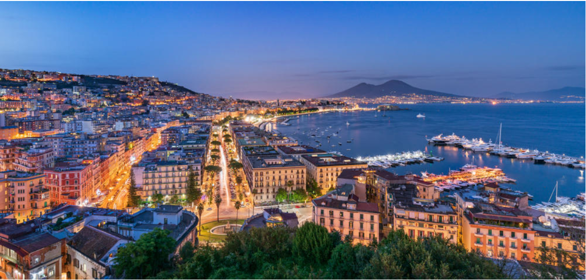 Panoramic bus tour of Naples by night with dinner