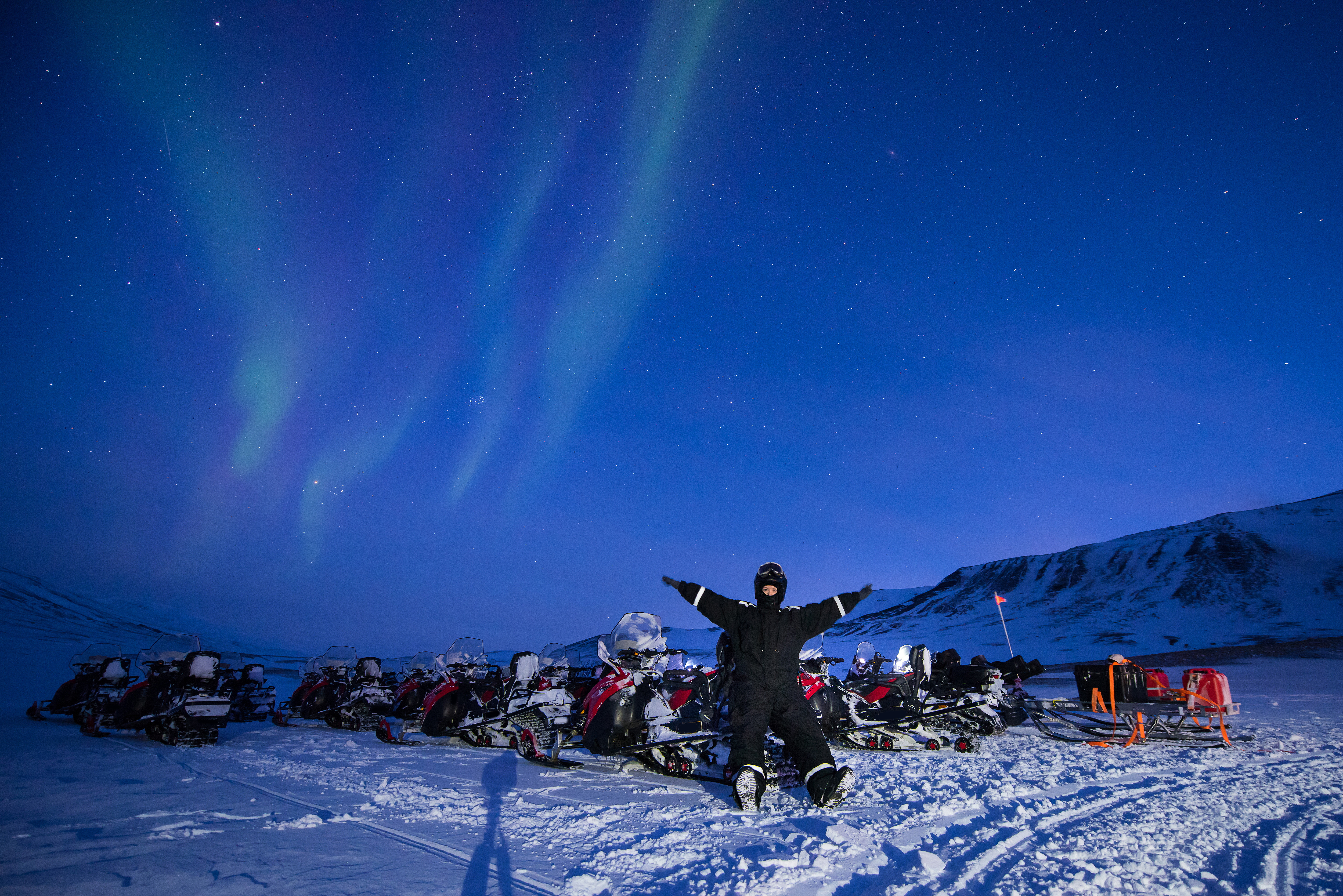 Chasing Auroras by Snowmobile Sleigh with Picnic