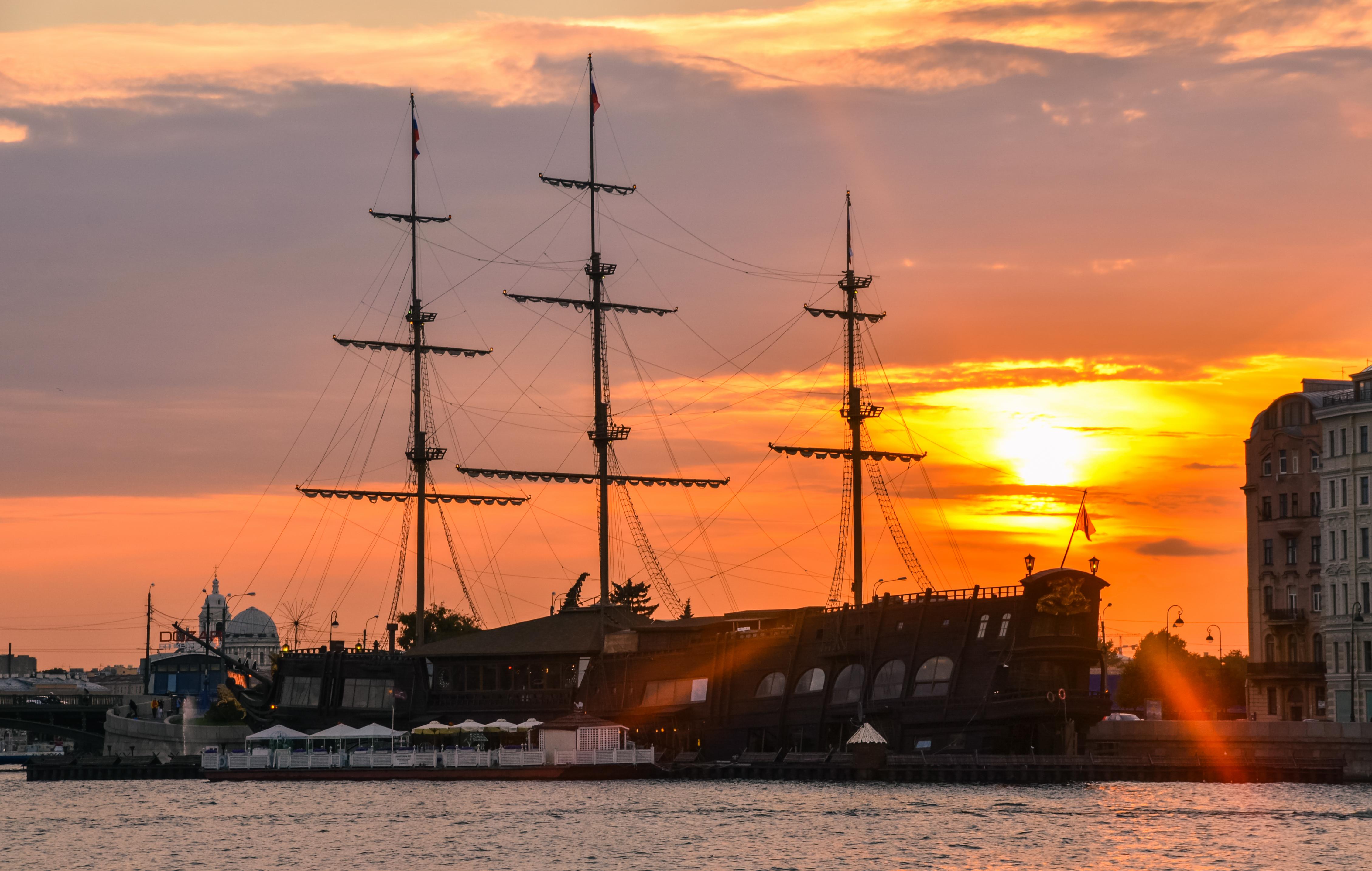 Sun setting over Saint Petersburg