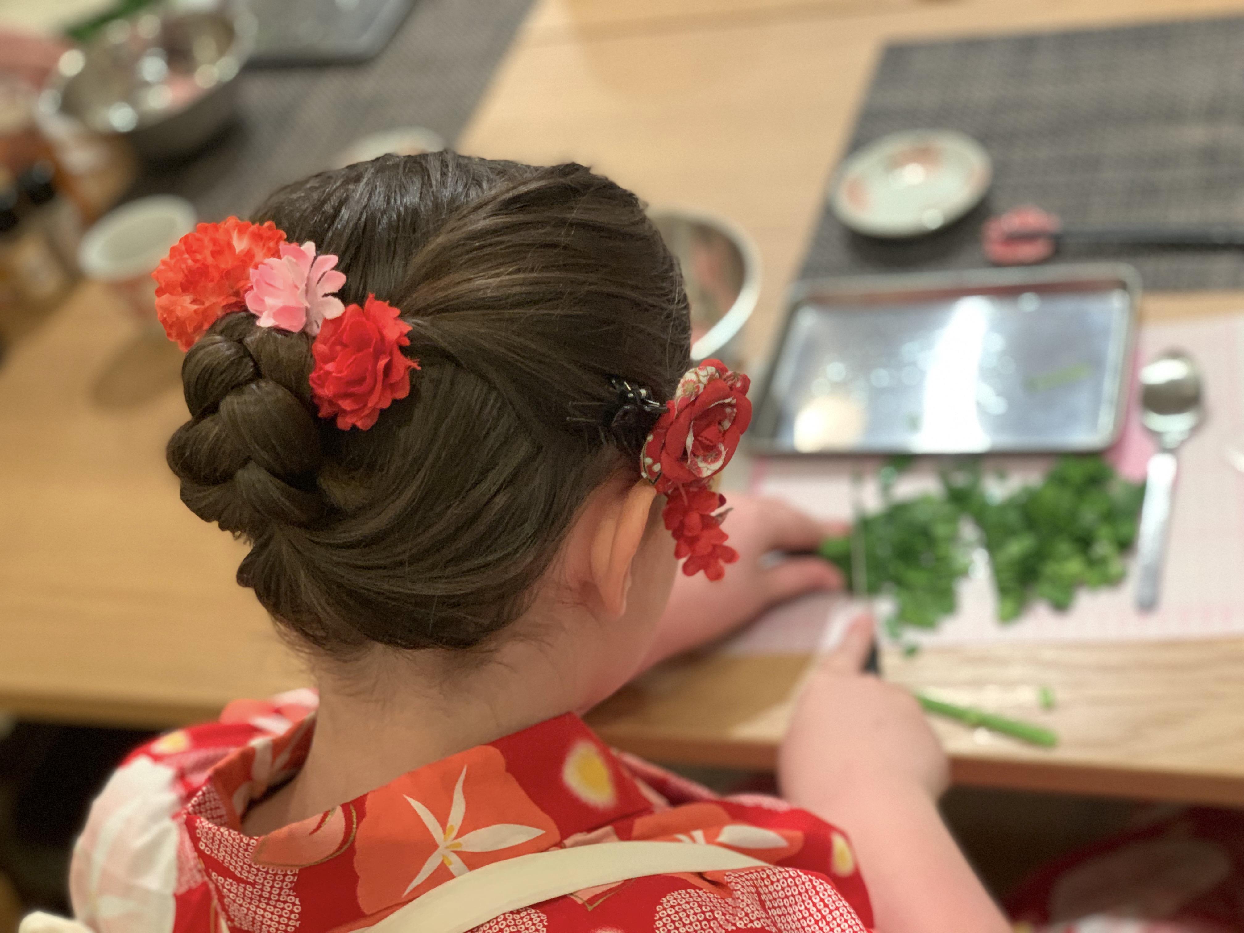 Gyoza (Japanese dumplings) making in the center of Kyoto