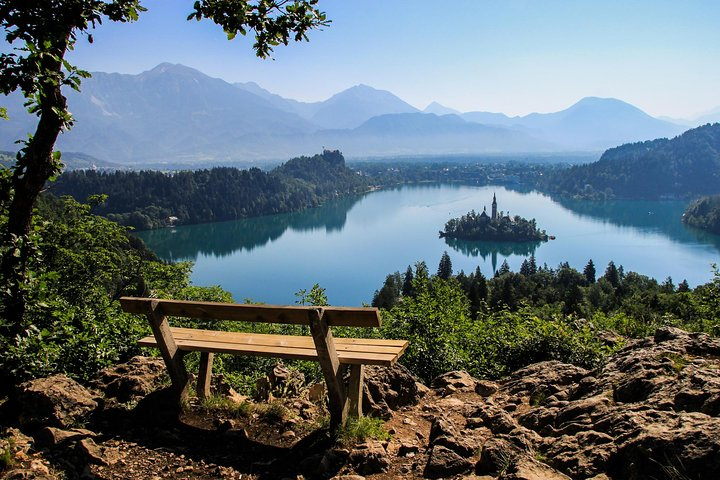 Lake Bled with Julian Alps in the background