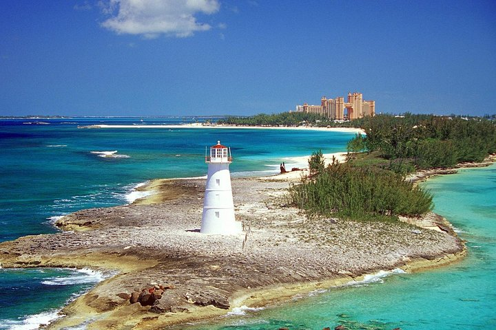 Fly over Paradise Island in a helicopter